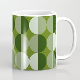 Retro circles grid green Kaffeebecher