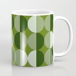 Retro circles grid green Coffee Mug