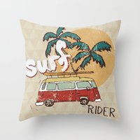 surfing Throw Pillows featuring Surfing by Julia