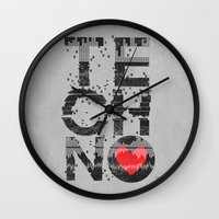 springsteen Wall Clocks featuring I love Techno by Sitchko