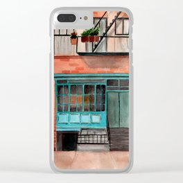 New York watercolor house front Clear iPhone Case