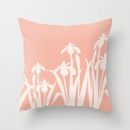 Daffodils pastel Mid Century light coral Throw Pillow