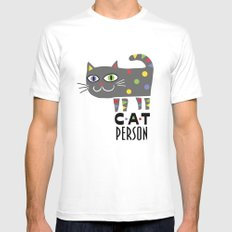 Cat Person MEDIUM White Mens Fitted Tee