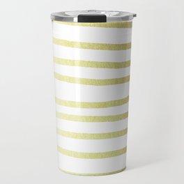 Simply Drawn Stripes 24k Gold Travel Mug