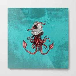 Squid with Diving Helmet Metal Print