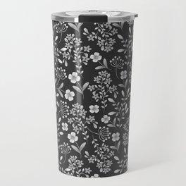 Botanical modern black white trendy floral pattern Travel Mug