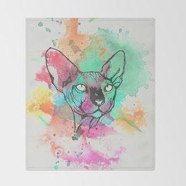Watercolor Sphynx Throw Blanket