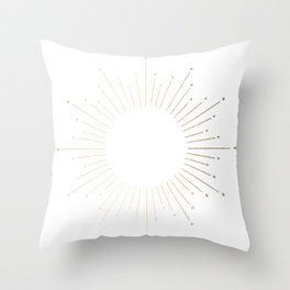 Simply Sunburst in White Gold Sands on White Throw Pillow
