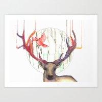 Deer and his little friend Art Print
