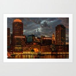 Night at Boston Harbor Art Print