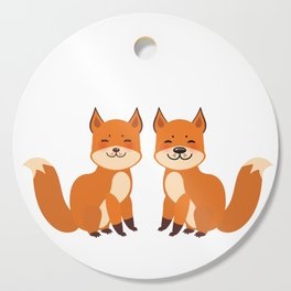 cute fox, boy and girl with funny face and fluffy tails on white background Cutting Board