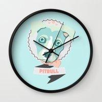 pastel goth Wall Clocks featuring Pastel Pitbull by Minette Wasserman