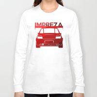 subaru Long Sleeve T-shirts featuring Subaru Impreza - classic red - by Vehicle