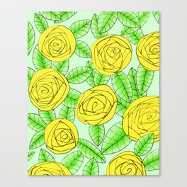 Golden Roses // Floral Print Canvas Print