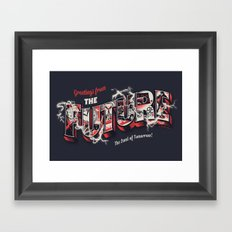 Greetings from the future Framed Art Print