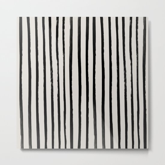 Vertical Black and White Watercolor Stripes Metal Print