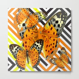 CONTEMPORARY  BUTTERFLIES ORANGE-YELLOW GRAPHIC ART Metal Print
