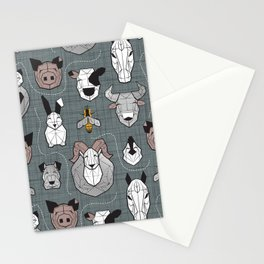 Friendly Geometric Farm Animals // green grey linen texture background black and white brown grey and yellow pigs queen bees lambs cows bulls dogs cats horses chickens and bunnies Stationery Cards