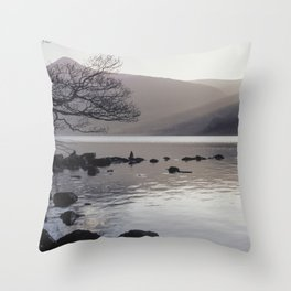 Shafts of sunlight at sunset of Crummock Water. Cumbria, UK. (Shot on film). Throw Pillow