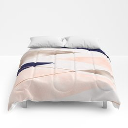 Rose gold french navy geometric Comforters