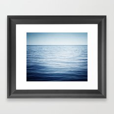 Blue Ocean Seascape, Dark Blue Sea Landscape Photography, Ocean Horizon Framed Art Print