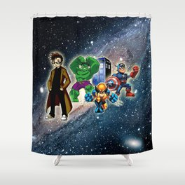 Tardis Super Hero Shower Curtain
