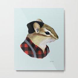 Chipmunk art print Metal Print