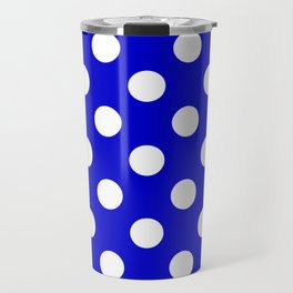 Medium blue - blue - White Polka Dots - Pois Pattern Travel Mug