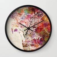 san diego Wall Clocks featuring San Diego by MapMapMaps.Watercolors