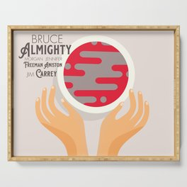 Bruce Almighty, alternative movie poster, Jim Carrey film, Morgan Freeman, Jennifer Aniston, Carell Serving Tray