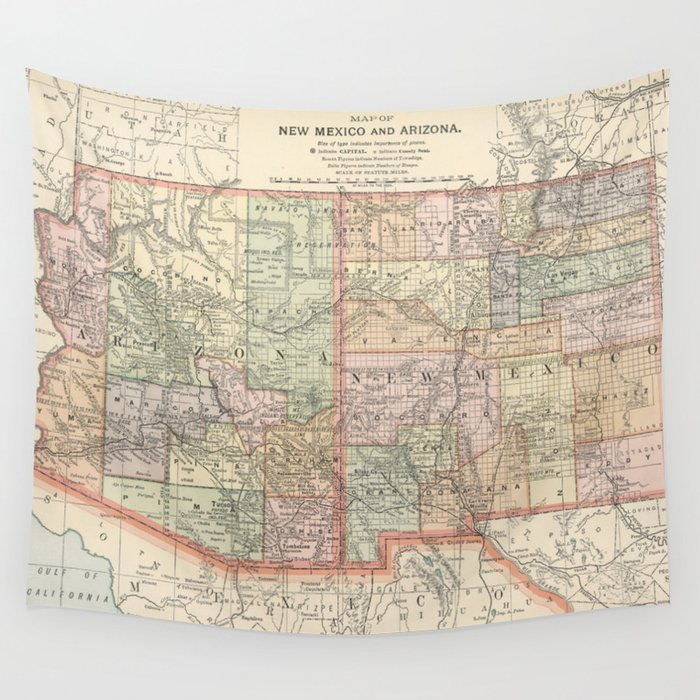 Vintage Map of Arizona and New Mexico (1891) Wall Tapestry by ...