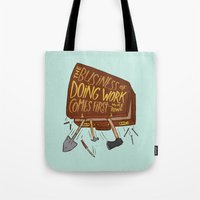 mike wrobel Tote Bags featuring Mike Rowe by Josh LaFayette