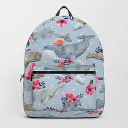 floral whales Backpack