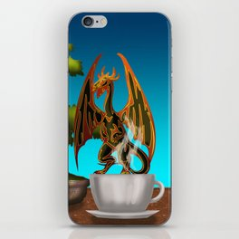 Hot Coffee with Bonsai and Fire Dragons iPhone Skin