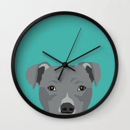 Pitbull dog portrait pet gifts pet friendly dog breeds for pitbulls owners Wall Clock