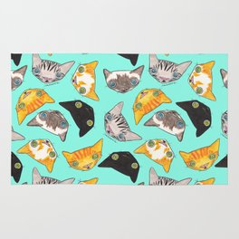 """""""Oro?"""" Cats-Turquoise Rug"""