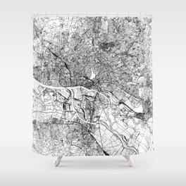 Hamburg White Map Shower Curtain