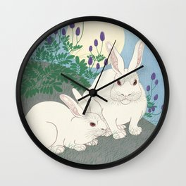 Rabbits at full moon, Ohara Koson Wall Clock