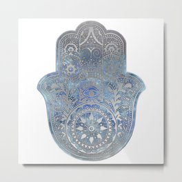 Silver Blues Hamsa Hand Metal Print