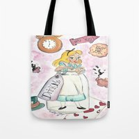 alice wonderland Tote Bags featuring Wonderland  by Marilyn Rose Ortega