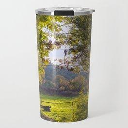 Forest, sunset, art photography at the bulgarian village Lisicite Travel Mug