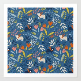 Cats & Flora Art Print