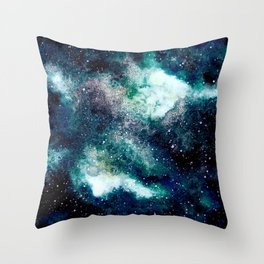 Dreamy Cloud Galaxy, Blue Throw Pillow
