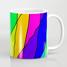 Slanting repetitive lines and rhombuses on bright pink with intersection of glare. Coffee Mug