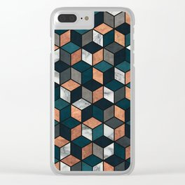 Copper, Marble and Concrete Cubes with Blue Clear iPhone Case