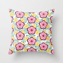 Sweet Plum Flower with Jade Snow Flake Throw Pillow