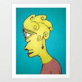 Young Sad Woman Portrait Drawing Art Print