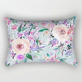 WILD DANCE Ice Blue Floral Rectangular Pillow