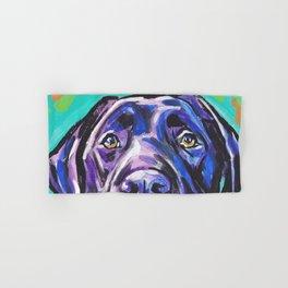 black Labrador Retriever Dog Pop Art by Lea Hand & Bath Towel