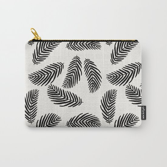 Palm trees black and white tropical minimal ocean seaside socal beach life pattern Carry-All Pouch
